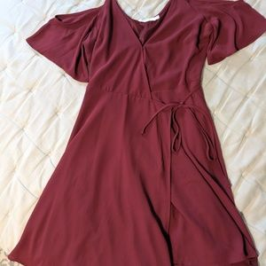 Maroon Flowy Lush Dress- S: M